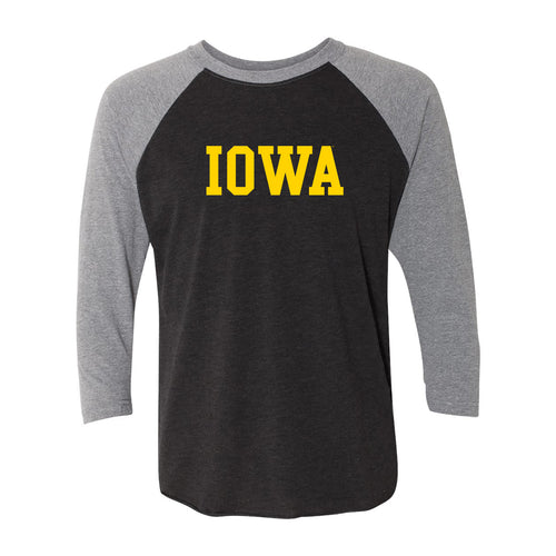 Iowa Basic Block Raglan - Vtg Black/Prem Htr