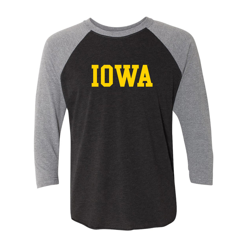 University of Iowa Hawkeyes Basic Block Next Level Raglan T Shirt - Vintage Black/Premium Heather