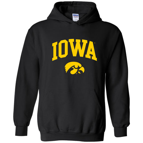 University of Iowa Hawkeyes Arch Logo Heavy Blend Hoodie - Black