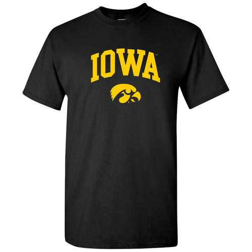 University of Iowa Hawkeyes Arch Logo Cotton Short Sleeve T Shirt - Black