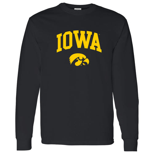 University of Iowa Hawkeyes Arch Logo Cotton Long Sleeve T Shirt - Black