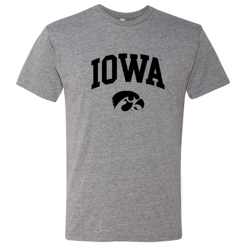 University of Iowa Hawkeyes Arch Logo Next Level Triblend Short Sleeve T Shirt - Premium Heather