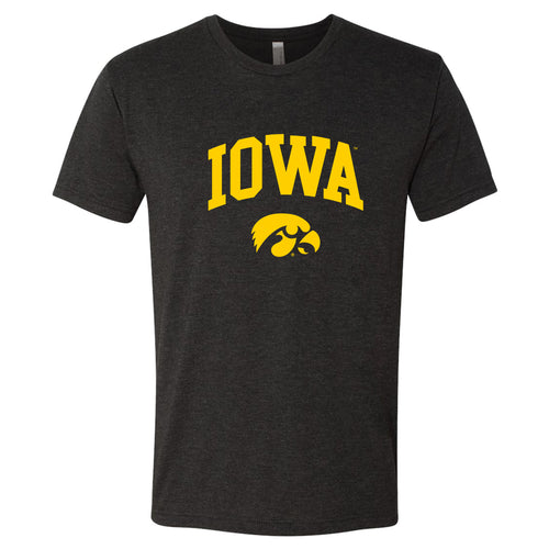 University of Iowa Hawkeyes Arch Logo Next Level Triblend Short Sleeve T Shirt- Vintage Black