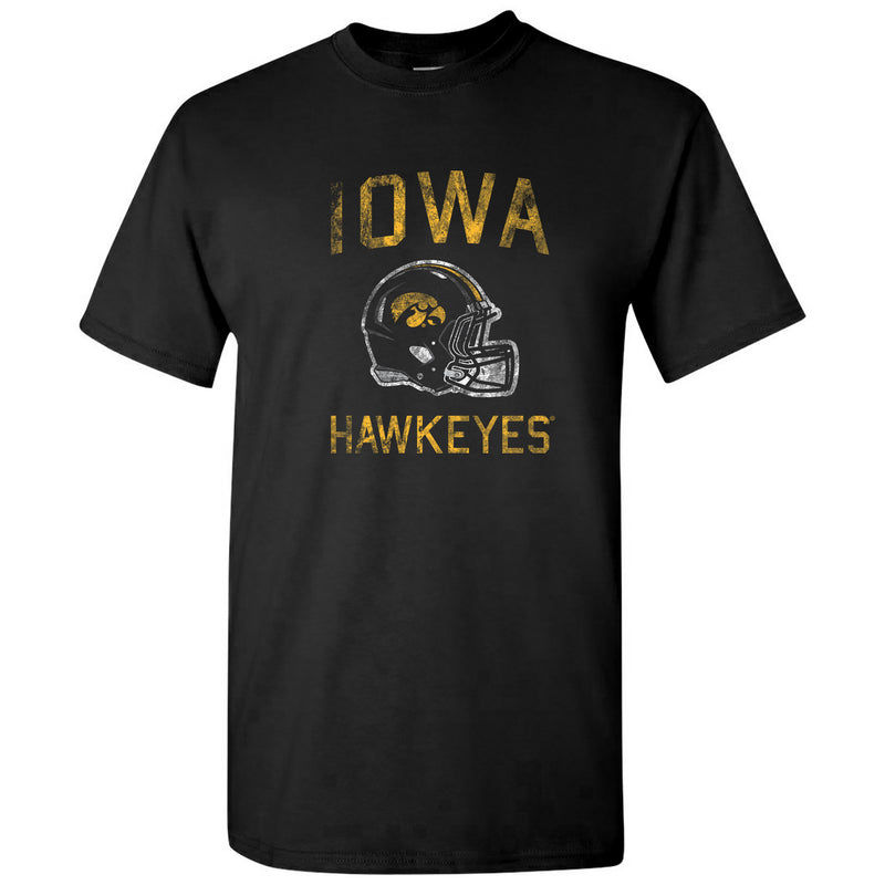 University of Iowa Hawkeyes Faded Football Helmet Basic Cotton Short Sleeve T Shirt - Black