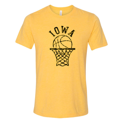University of Iowa Hawkeyes Retro Bball Hoop Canvas Triblend T Shirt - Yellow Gold Triblend