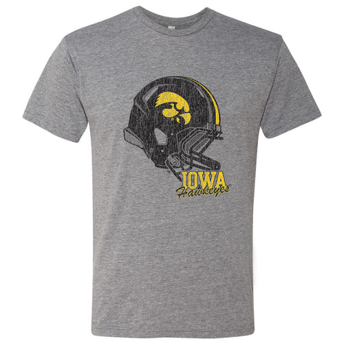 Tilted Football Helmet Iowa Hawkeyes Next Level Triblend Short Sleeve T Shirt - Premium Heather