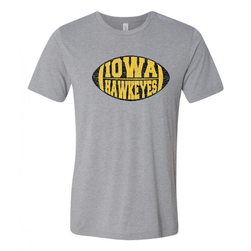 Iowa Faded Block Football Canvas Triblend T Shirt - Athletic Grey Triblend