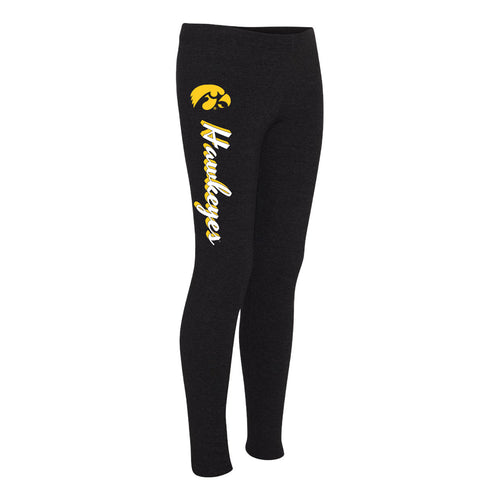 Mascot Script Leggings Iowa Hawkeyes Boxercraft Women's Leggings - Black