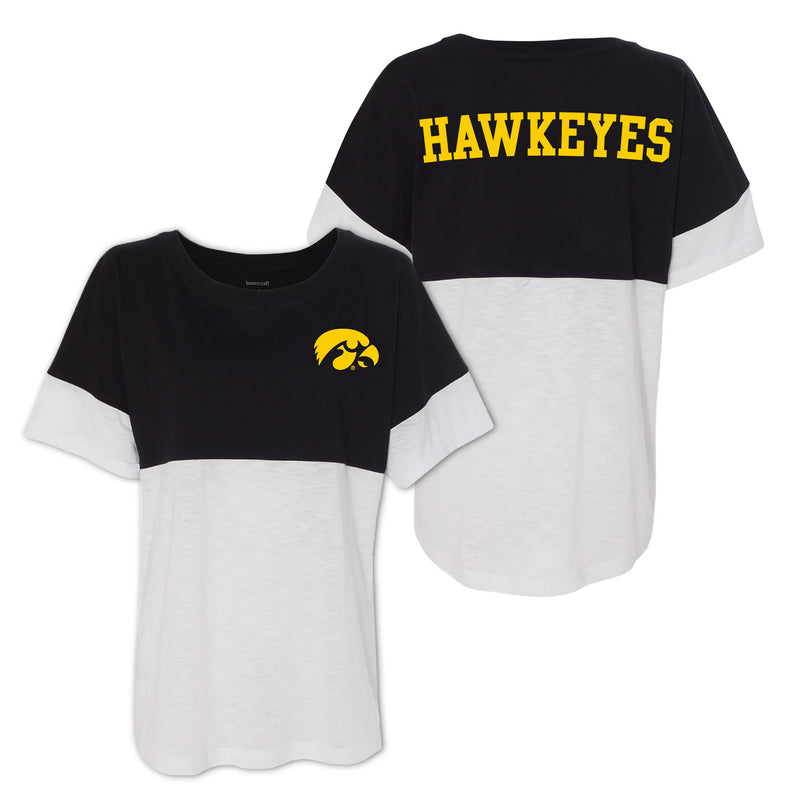 University of Iowas Hawkeye Logo Left Chest Boxercraft Short Sleeve Pom Jersey - Black/White