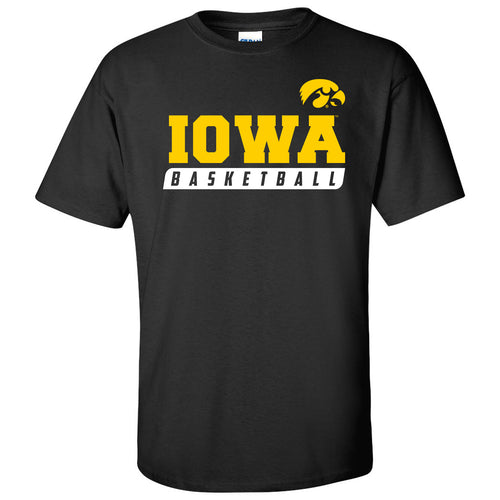 Basketball Slant Iowa Hawkeyes Basic Cotton Short Sleeve T-Shirt - Black