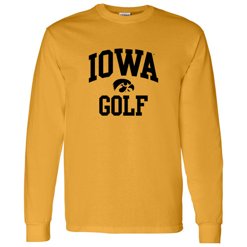 University of Iowa Hawkeyes Arch Logo Golf Long Sleeve T Shirt- Gold