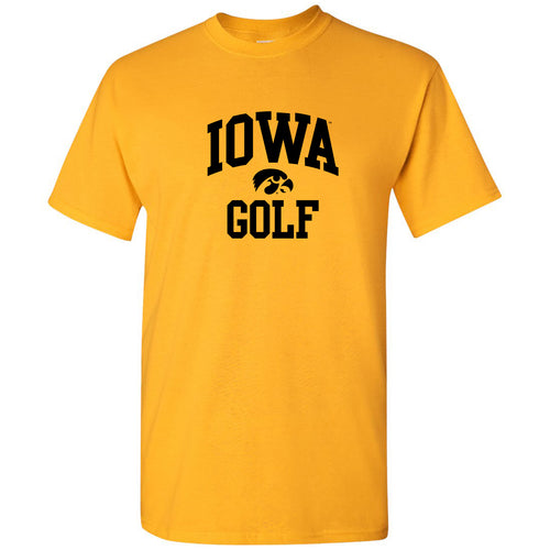 University of Iowa Hawkeyes Arch Logo Golf Short Sleeve T Shirt - Gold