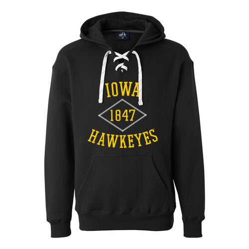 University of Iowa Hawkeyes Stitch Arch J America Lace Up Hoodie - Black