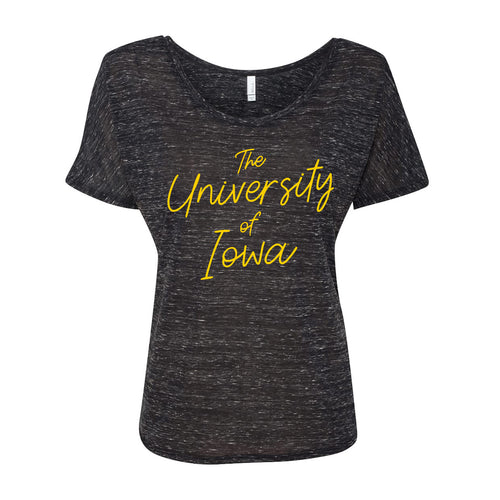 University of Iowa Hawkeyes Sweet Script Bella Slouchy Tee - Black Marble
