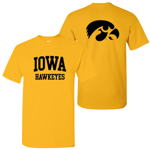 Iowa Front Back Print T Shirt - Gold