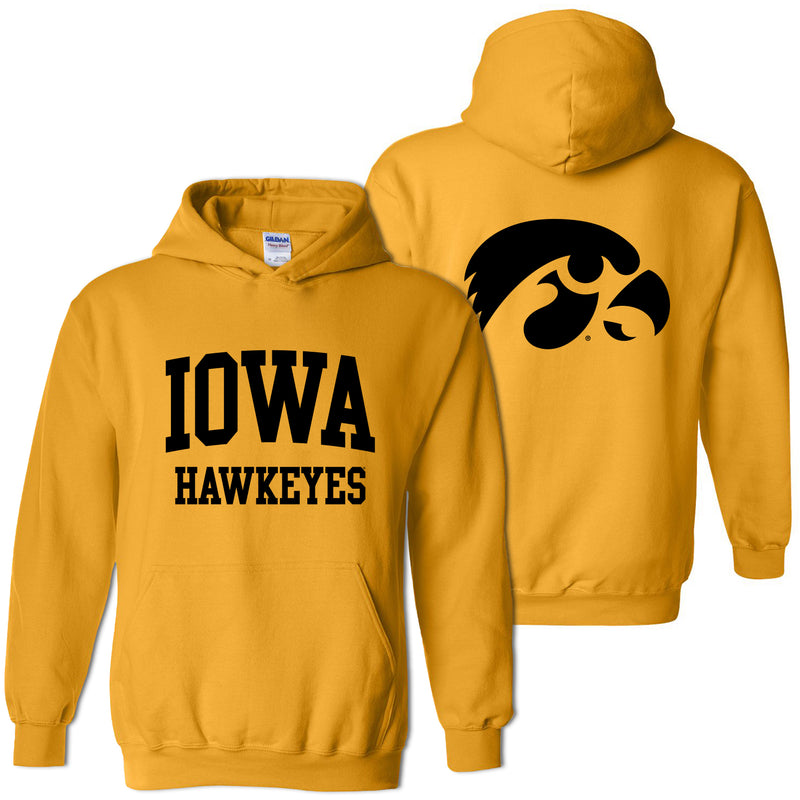 University of Iowa Hawkeyes Front Back Print Heavy Blend Hoodie - Gold