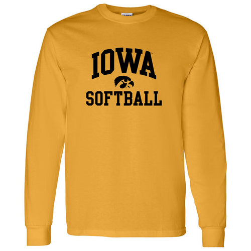 University of Iowa Hawkeyes Arch Logo Softball Long Sleeve T Shirt- Gold