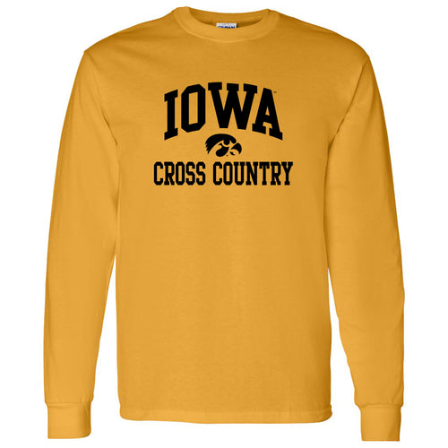 University of Iowa Hawkeyes Arch Logo Cross Country Long Sleeve T Shirt- Gold