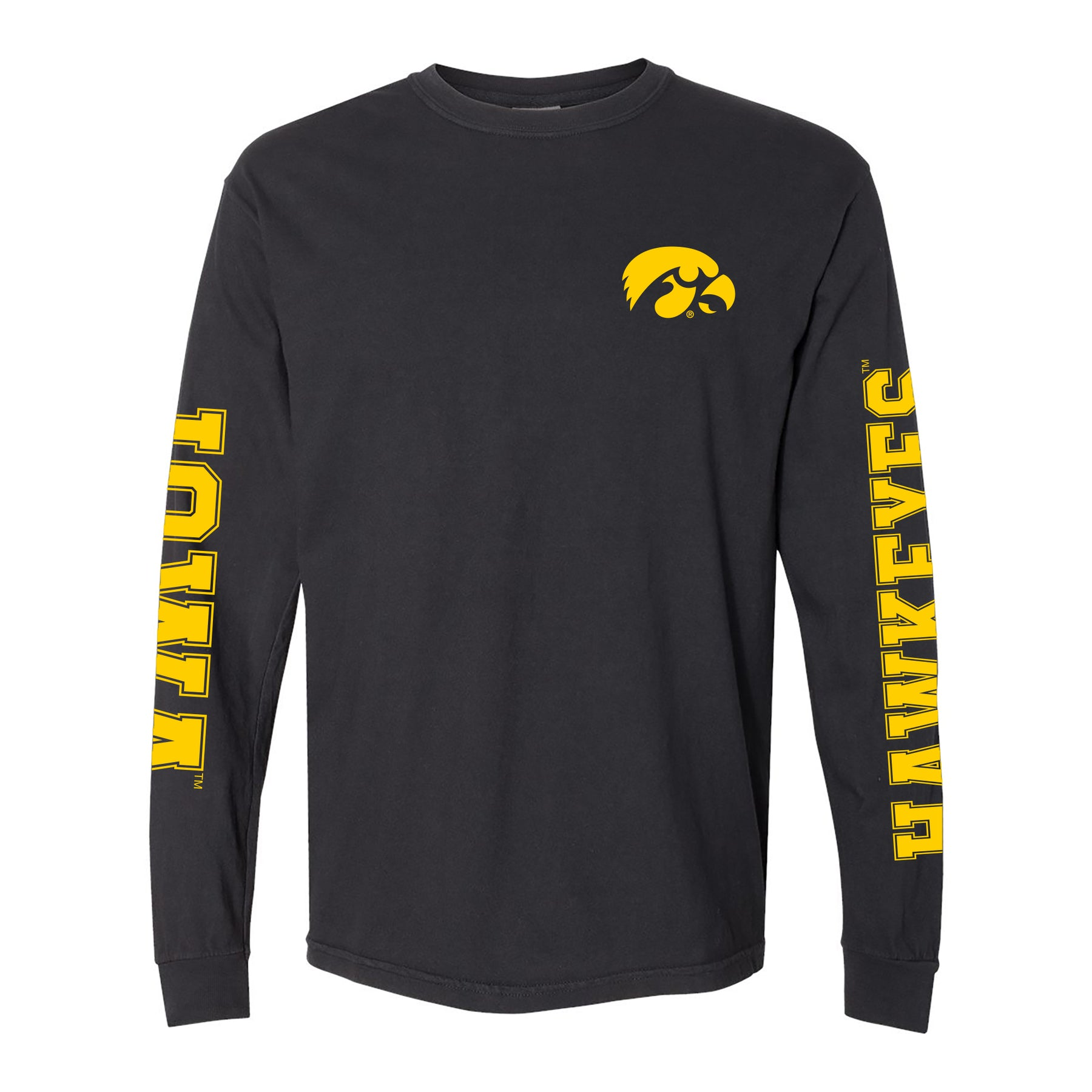 promo code b569a 7c6d2 University of Iowa Hawkeyes Double Sleeve Comfort Colors Long Sleeve T  Shirt - Black