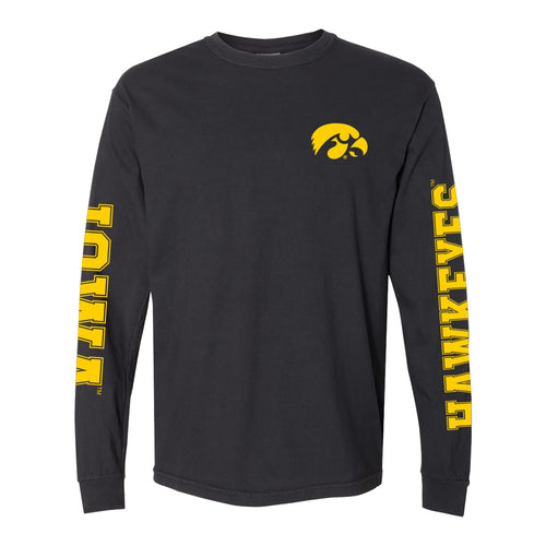 University of Iowa Hawkeyes Double Sleeve Comfort Colors Long Sleeve T Shirt - Black