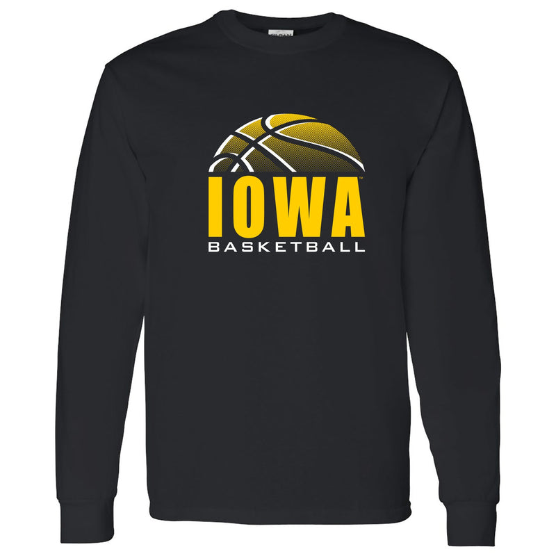 University of Iowa Hawkeyes Basketball Shadow Long Sleeve T Shirt- Black