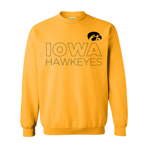 Modern Outline Iowa Hawkeyes Heavy Blend Crewneck Sweatshirt - Gold