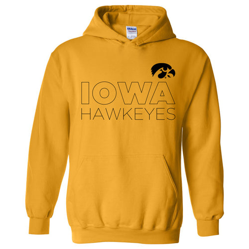 Modern Outline Iowa Hawkeyes Heavy Blend Hoodie - Gold