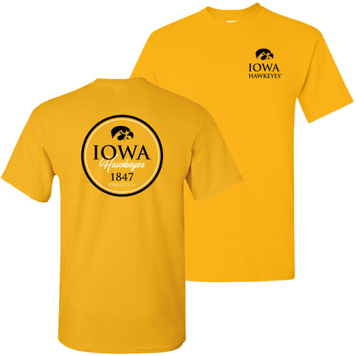 Classic Circle Iowa Hawkeyes Basic Cotton Short Sleeve T Shirt - Gold