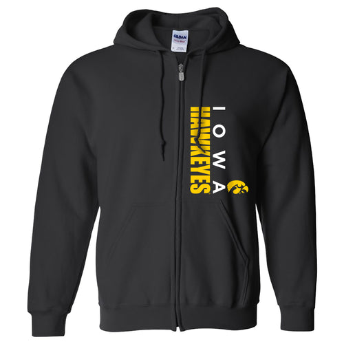 University of Iowa Hawkeyes Vertical Block Left Chest Full Zip Hoodie - Black