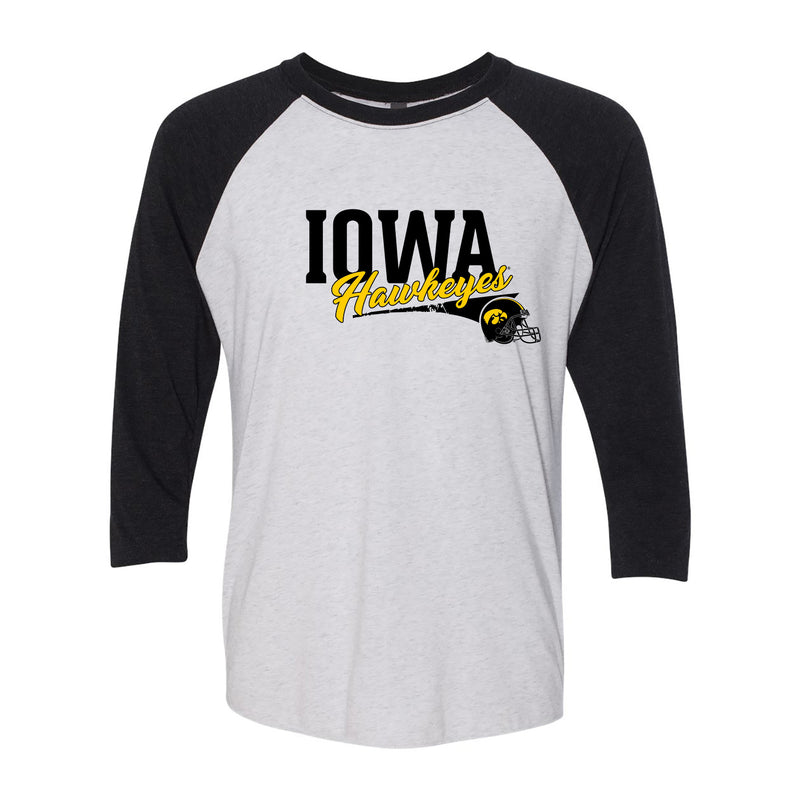 University of Iowa Hawkeyes Varsity Script Helmet Next Level Raglan - Heather White/Vintage Black