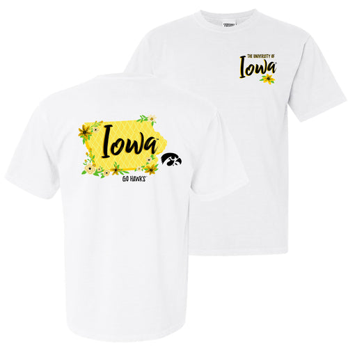 Floral State Iowa Hawkeyes Comfort Colors Short Sleeve T Shirt - White