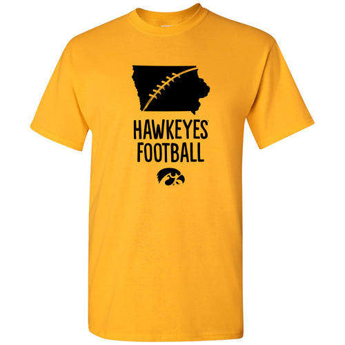 Football Brush State Iowa Hawkeyes Basic Cotton Short Sleeve T-Shirt - Gold