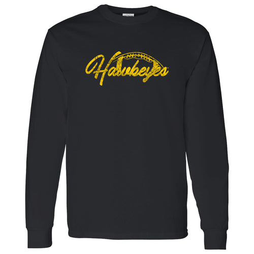 Football Script Iowa Hawkeyes Basic Cotton Long Sleeve T-Shirt - Black