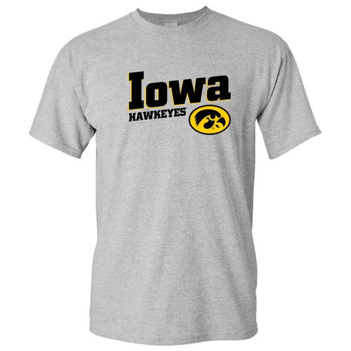 Incline Block Iowa Hawkeyes Basic Cotton Short Sleeve T-Shirt - Sport Grey