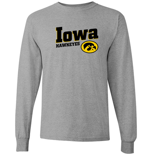 Incline Block Iowa Hawkeyes Basic Cotton Long Sleeve T-Shirt - Sport Grey