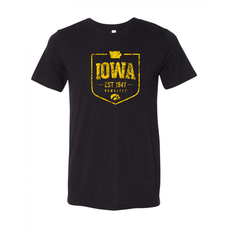 Timber Shield Iowa Hawkeyes Canvas Short Sleeve Triblend T-Shirt - Black