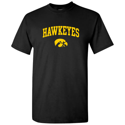 Mascot Arch Logo Iowa Hawkeyes Basic Cotton Short Sleeve T Shirt - Black