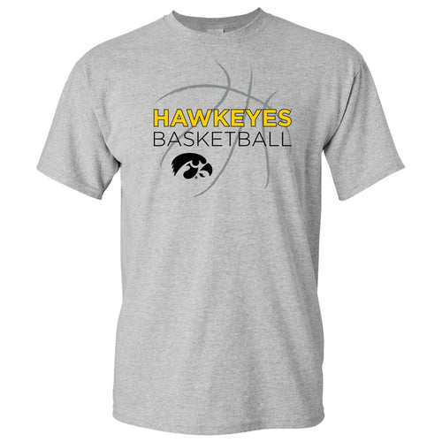 University of Iowa Hawkeyes Basketball Sketch Basic Cotton Short Sleeve T Shirt - Sport Grey