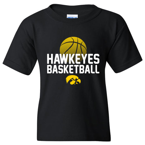 University of Iowa Basketball Flux Basic Cotton Youth Short Sleeve T Shirt - Black