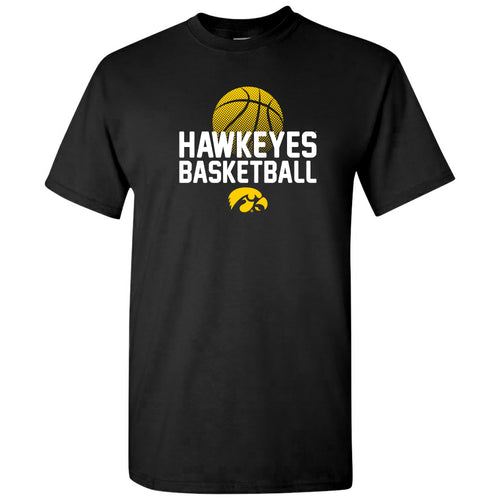 University of Iowa Hawkeyes Basketball Flux IBasic Cotton Short Sleeve T Shirt - Black