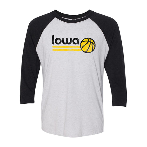 University of Iowa Hawkeyes Basketball Bubble Next Level Raglan T Shirt - Heather White/Black