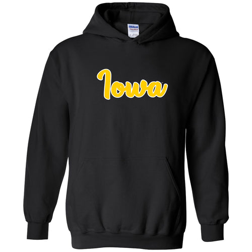 University of Iowa Hawkeyes Basic Script Cotton Heavy Blend Hoodie - Black