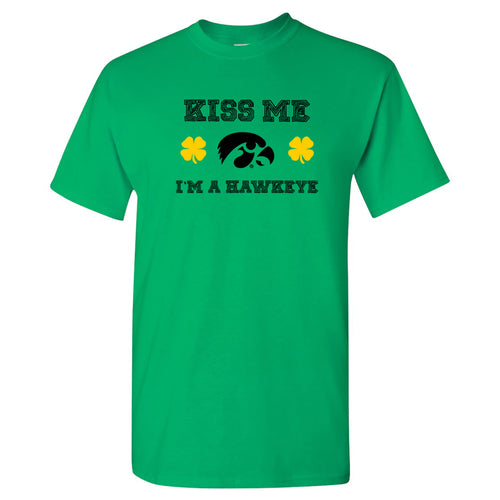 University of Iowa Hawkeyes Kiss Me I'm a Hawkeye Basic Cotton Short Sleeve T Shirt - Irish Green