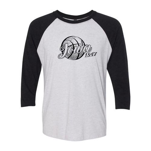 University of Iowa Hawkeyes Basketball Vignette Next Level Raglan T Shirt - Heather White / Vintage Black