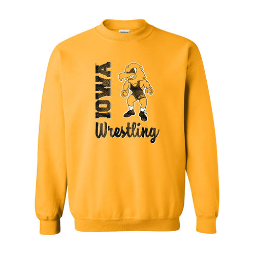 University of Iowa Hawkeyes Herky Wrestling Script Crewneck Sweatshirt - Gold