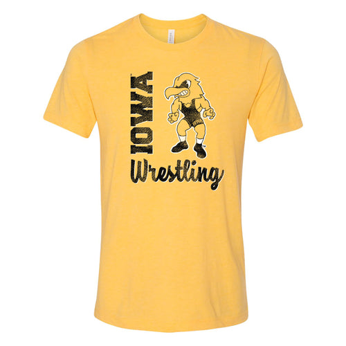 University of Iowa Hawkeyes Herky Wrestling Script Triblend Short Sleeve T-Shirts - Yellow Gold Triblend