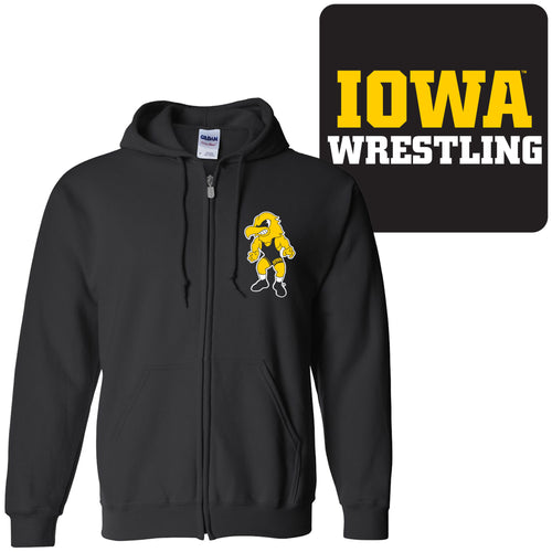 University of Iowa Hawkeyes Wrestling Herky Logo Left Chest Full Zip Hoodie - Black
