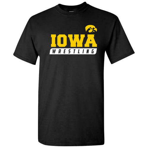 University of Iowa Hawkeyes Wrestling Slant Short Sleeve T Shirt - Black
