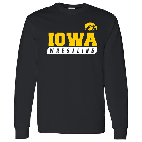 University of Iowa Hawkeyes Wrestling Slant Long Sleeve T-Shirt - Black