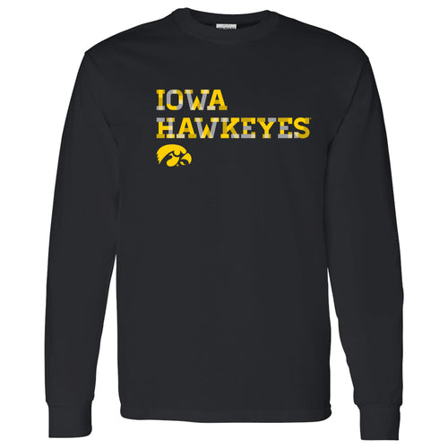 University of Iowa Hawkeyes Patchwork Cotton Long Sleeve T Shirt - Black